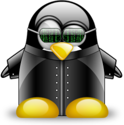 tux, the linux logo, image, dressed as neo in matrix