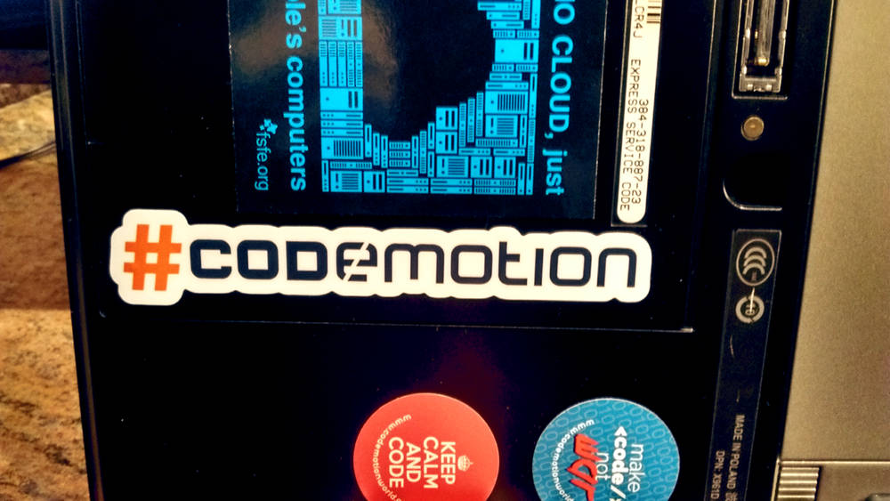 old pc with codemotion logo